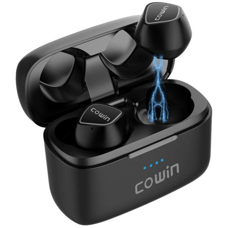 COWIN KY02 True Wireless Earbuds Bluetooth Wireless Headphones with Microphone Bluetooth Earbuds Stereo Calls Extra Bass Touch Control 35H Playtime for Workout (Charging Case Included) - Black (Extra Bass Earbuds Microphone)