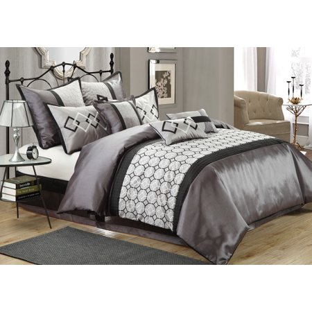13 Piece Mulhouse Charcoal Gray Bed In A Bag W 500tc