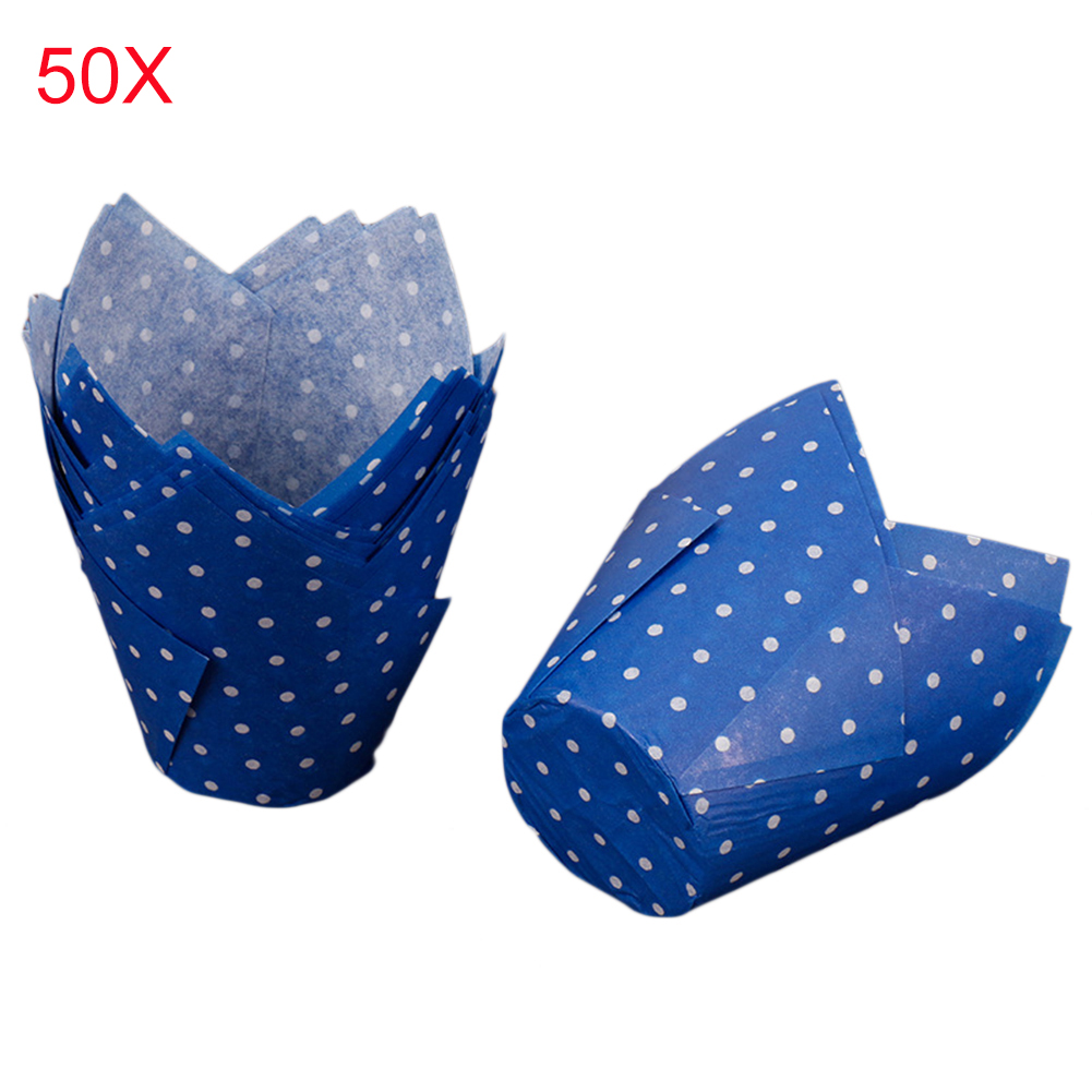 50PCS High Temperature Resistant Cake Paper Cup Pink Baking Cake Surrounding Edge Paper Cup Tulip Christmas Muffin Wraps Cases
