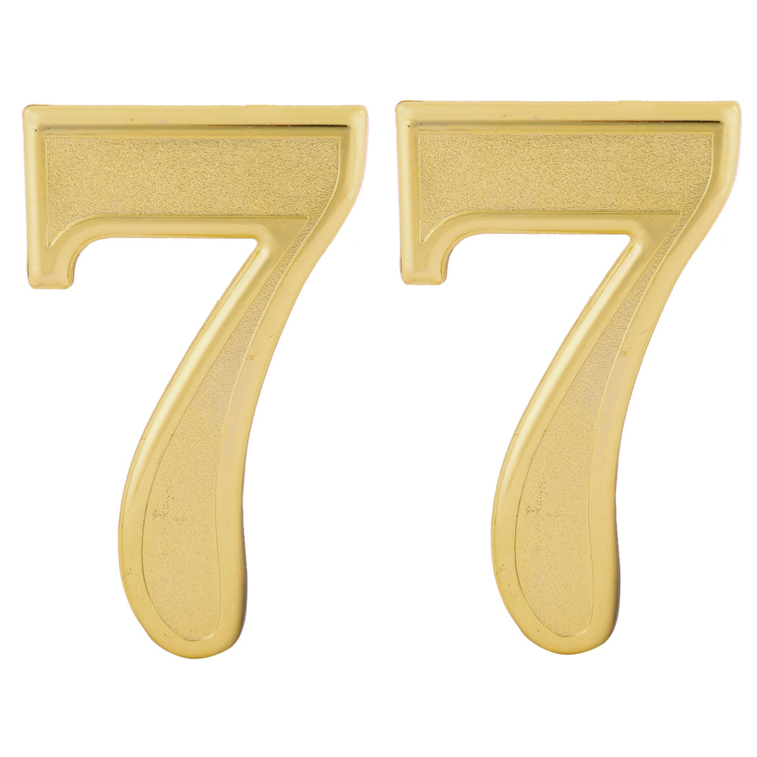 Hotel Door Plastic 7 Shaped Self Adhesive Plate Sign Number Label Gold Tone 2pcs