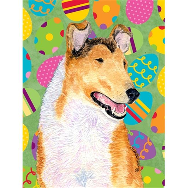 Carolines Treasures SS4815CHF 28 x 40 in. Collie Smooth Easter Eggtravaganza House Size Canvas Flag - image 1 of 1