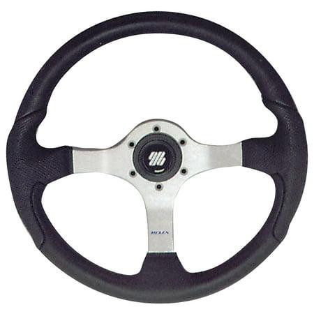 "Uflex Nisida 13.8"" Black Steering Wheel with Aluminum Frame"