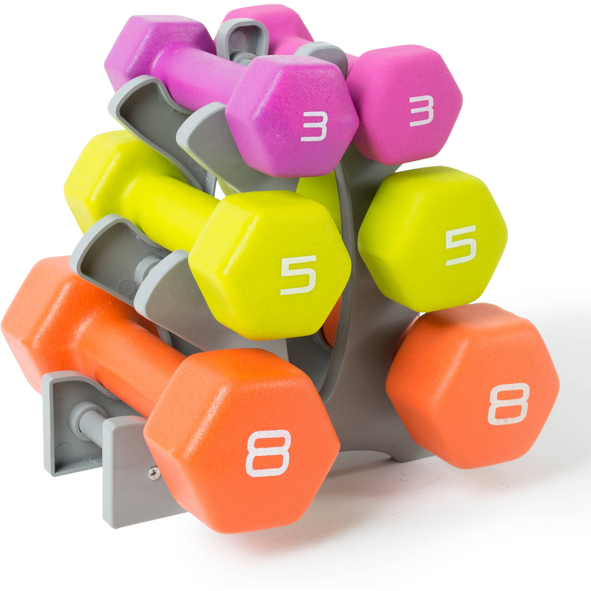 Tone Fitness 32 lb Dumbbell Set with Rack