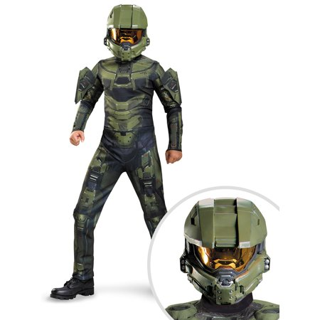 Boys Halo Master Chief Classic Costume and Halo Master Chief Full Helmet Adult - Halo Costume Helmet