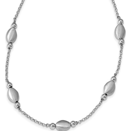 Leslie's Sterling Silver Rhod-plated Polished/ Satin w/ 1.5in ext Necklace - image 4 of 4