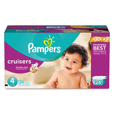 Pampers Cruisers Diapers Size 4: 22 - 37 lbs 124/Carton 8...