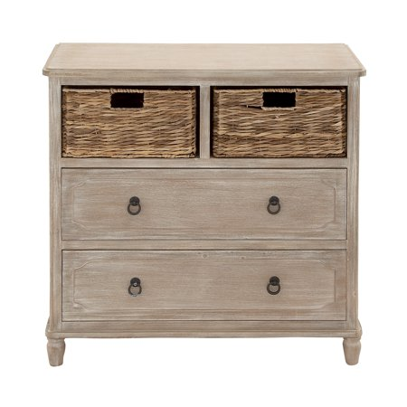 Farmhouse Square Beige Wood Cabinet w/ Natural Wicker Storage Basket Drawers & Whitewash Finish Dining Room Wicker Cabinet