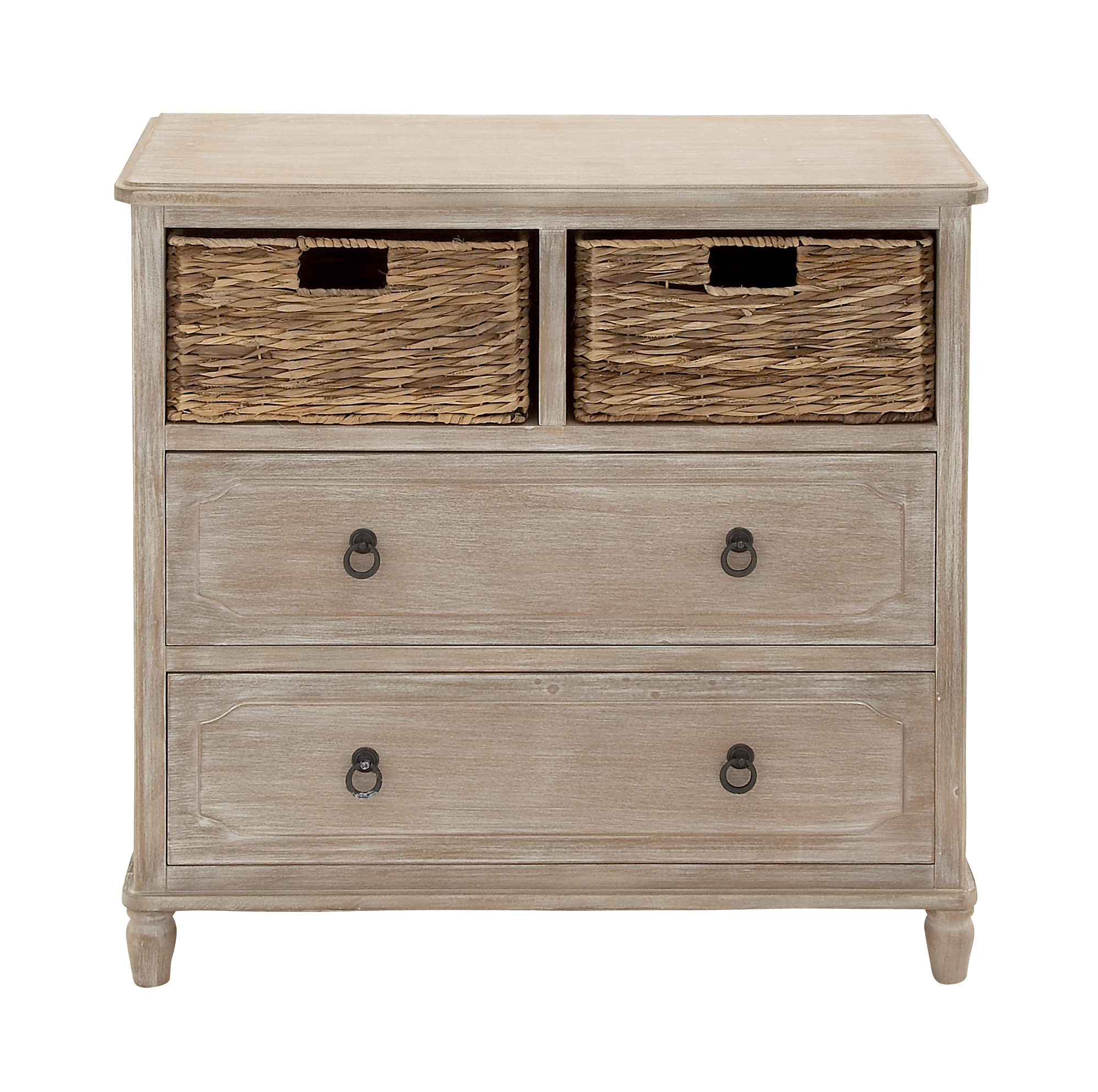 Decmode Farmhouse Square Beige Wood Cabinet w/ Natural Wicker Storage Basket Drawers & Whitewash Finish