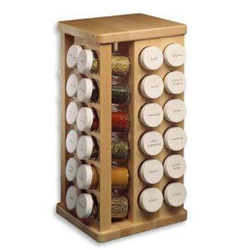 J.K. Adams 8-Inch-by-11-1/2-Inch Sugar Maple Wood Spice Jar Carousel, 32 Glass Jars Included