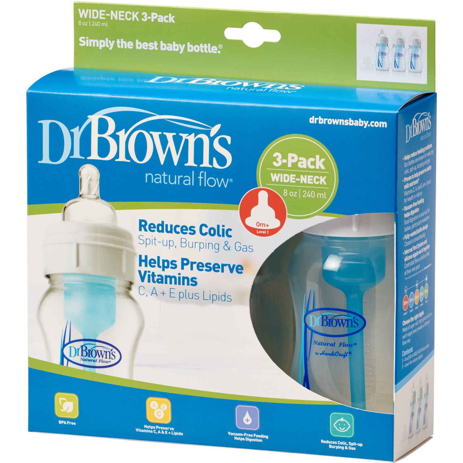 Dr. Brown's Natural Flow 8-oz Wide Neck Baby Bottle, 3-Pack, BPA Free