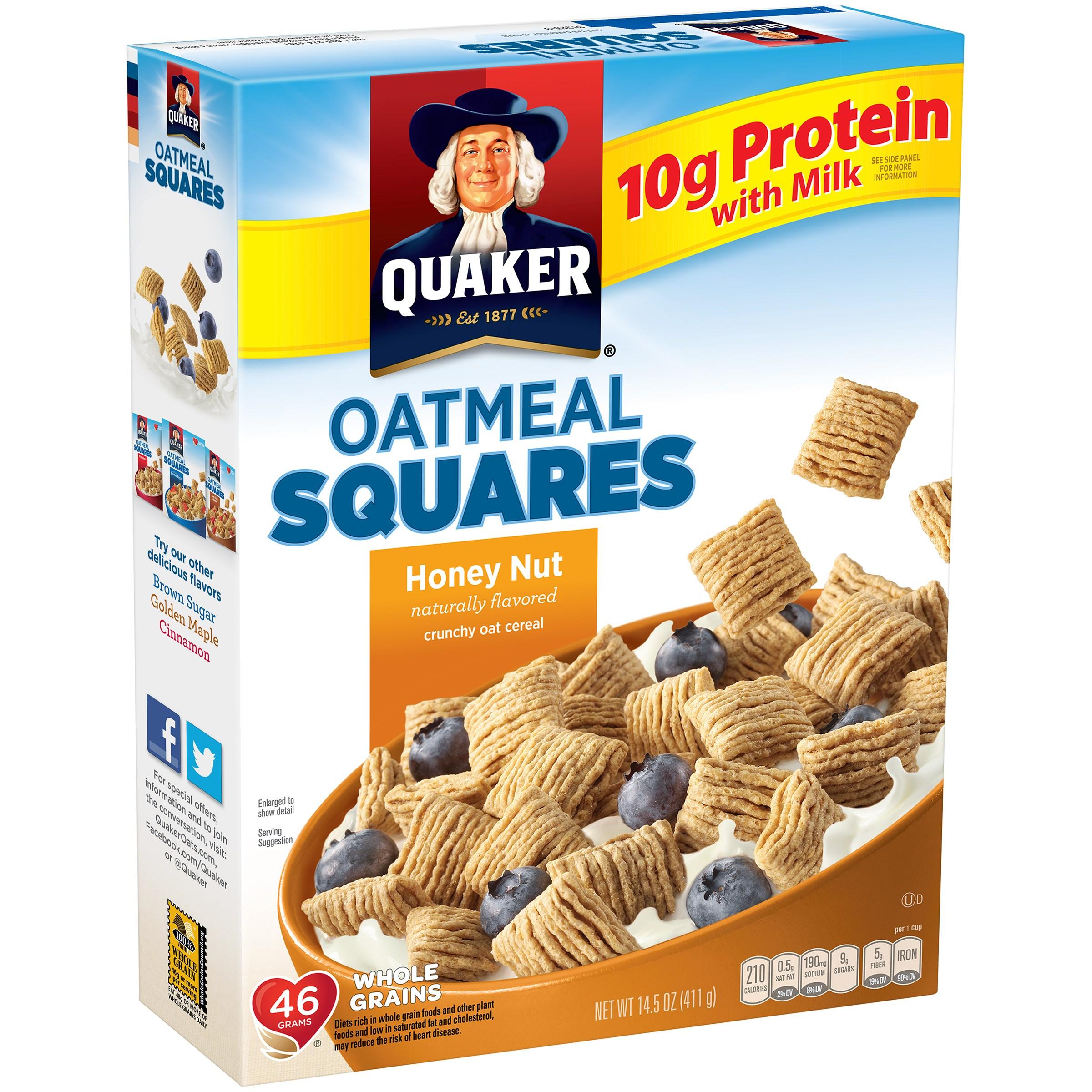Quaker Oatmeal Squares Honey Nut Cereal 14.5 oz. Box