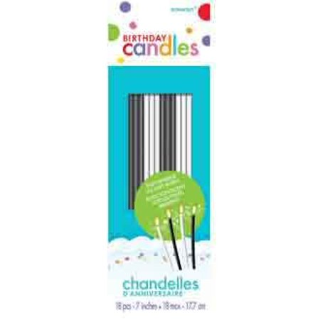Black And White Sparkle Birthday Cake Candles - 18 Pcs](Candle Cake)