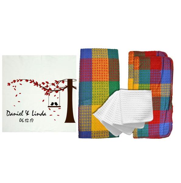 "RR Textile Mills Personalized ""Lovebirds"" 8 Piece Kitchen Towel Set"