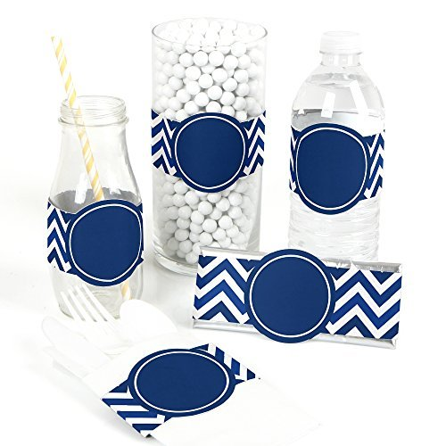 Chevron Navy - DIY Party Wrapper Favors - Set of 15
