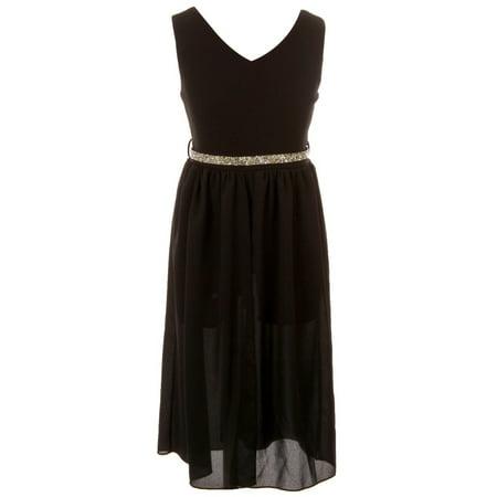 Little Girl V Neck Rhinestones Chiffon Maxi Skirt Dress Romper Party Jumpsuit Black 4 JKS 2169 BNY Corner