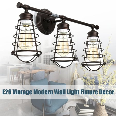 Wedlies E26 3-Light Vanity Light Metal Wire Cage Wall Sconce Industrial Bathroom Light Fixture Artist Lamp for Bathroom Bedroom Vanity Table Home Decor Artists Originals Vanity