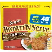 Banquet Brown 'N Serve Frozen Side, Precooked Original Sausage Patties, 32oz Value Pack, 40 Count