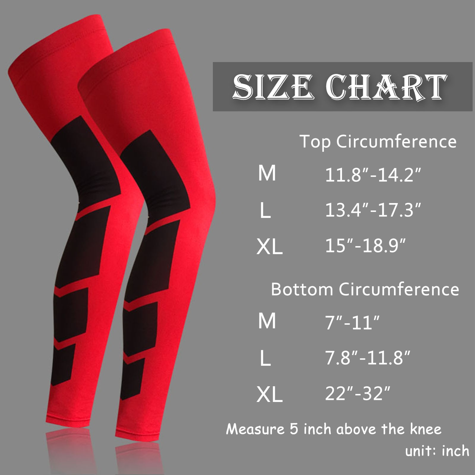 White Full Length Stretch Long Sleeve with Knee Support Women 1 Pair Compression Leg Sleeves for Men Non-Slip Inner Bands-M