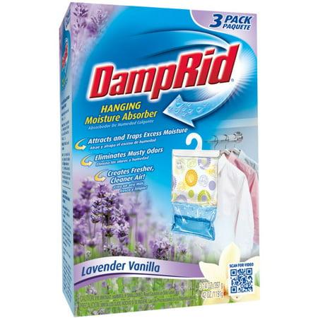 Closet Freshener - DampRid Hanging Moisture Absorber, Lavender Vanilla, 14 Oz, 3 Pack