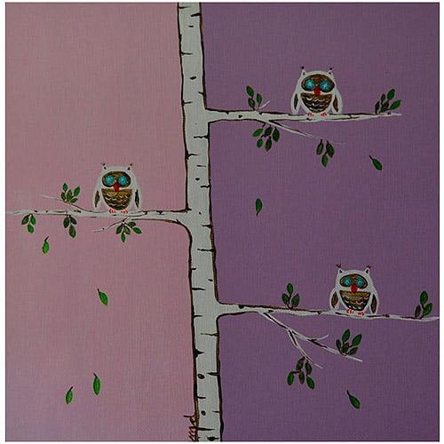 "Trademark Art ""Three Owls"" Canvas Wall Art by Nicole Dietz"