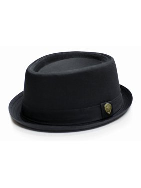 City Hunter Pmt112 Cotton Plain Porkpie with Self Band Fedora (Black-S/m Size)
