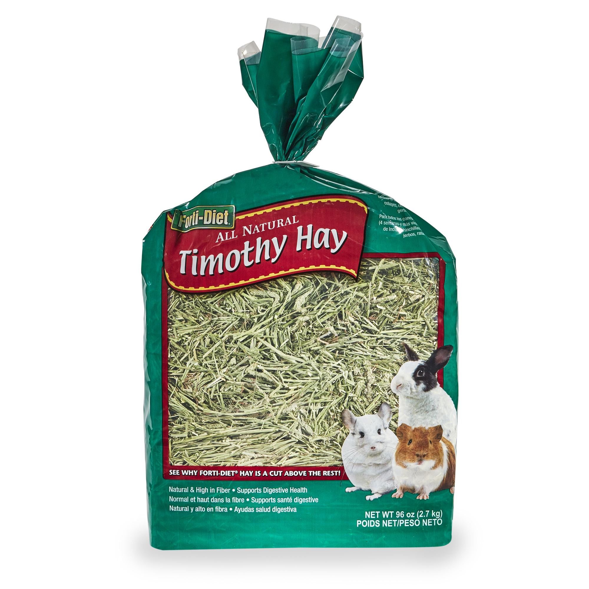 Forti-Diet Natural Timothy Hay for Small Pets Small Animal Treat and Food, 96 OZ