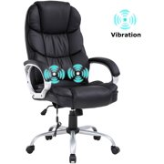 Home Office Chair Massage Desk Chair Ergonomic Computer Chair with Lumbar Support Headrest Armrest High Back Task Chair Rolling Swivel PU Leather Executive Chair for Women Adults, Black