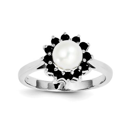 Sterling Silver Rhodium 6mm Freshwater Cultured Cult Button Pearl and Sapphire Ring - Ring Size: 7 to