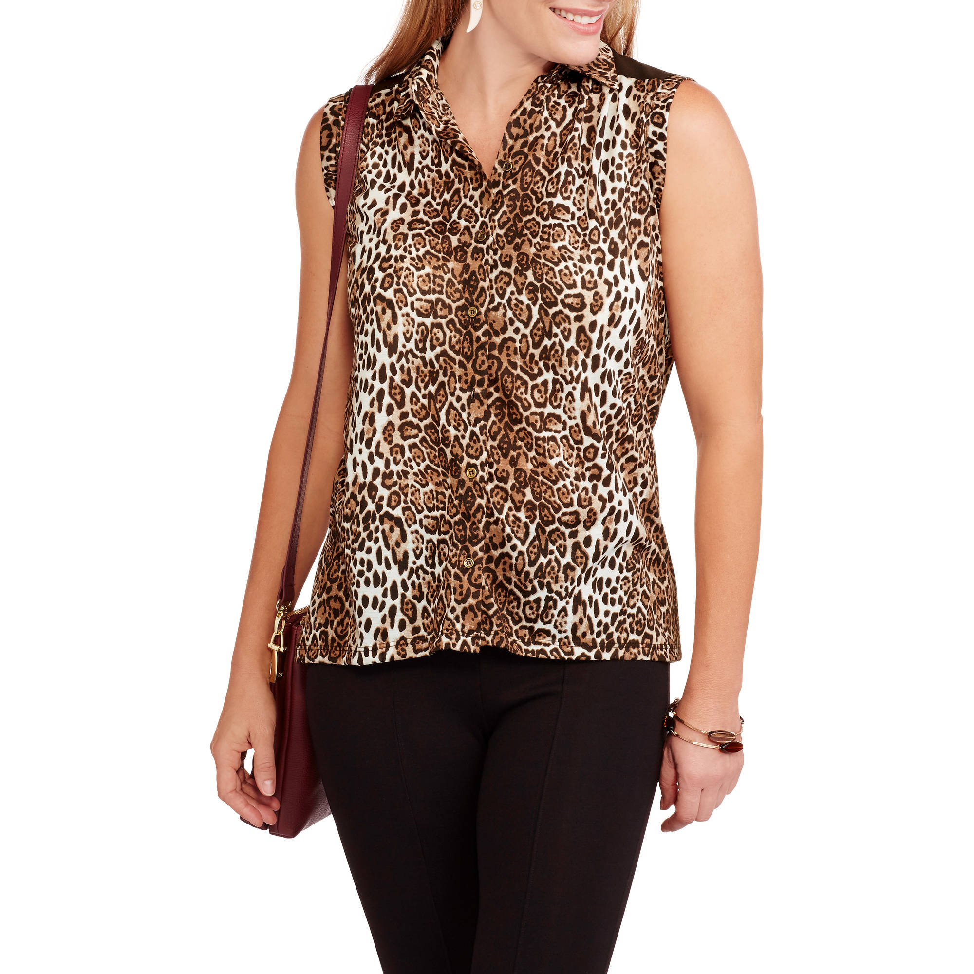 French Laundry Women's Soft Knit Leopard Sleeveless Button-Front Top
