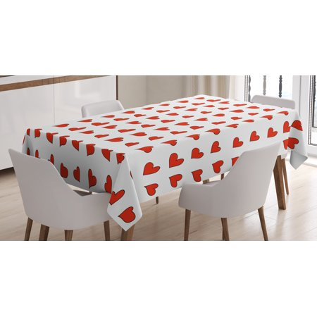 Romantic Tablecloth, Heart Shapes Pattern Lovers Valentines Day Cute Honeymoon Kids Girls Doodle Design, Rectangular Table Cover for Dining Room Kitchen, 60 X 90 Inches, Red White, by Ambesonne