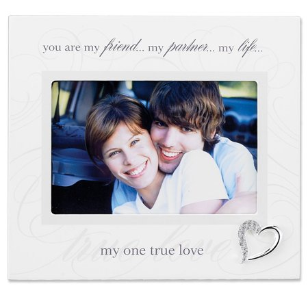 6X4 Ivory Wood True Love Picture Frame   Silver Heart Ornament With Crystals
