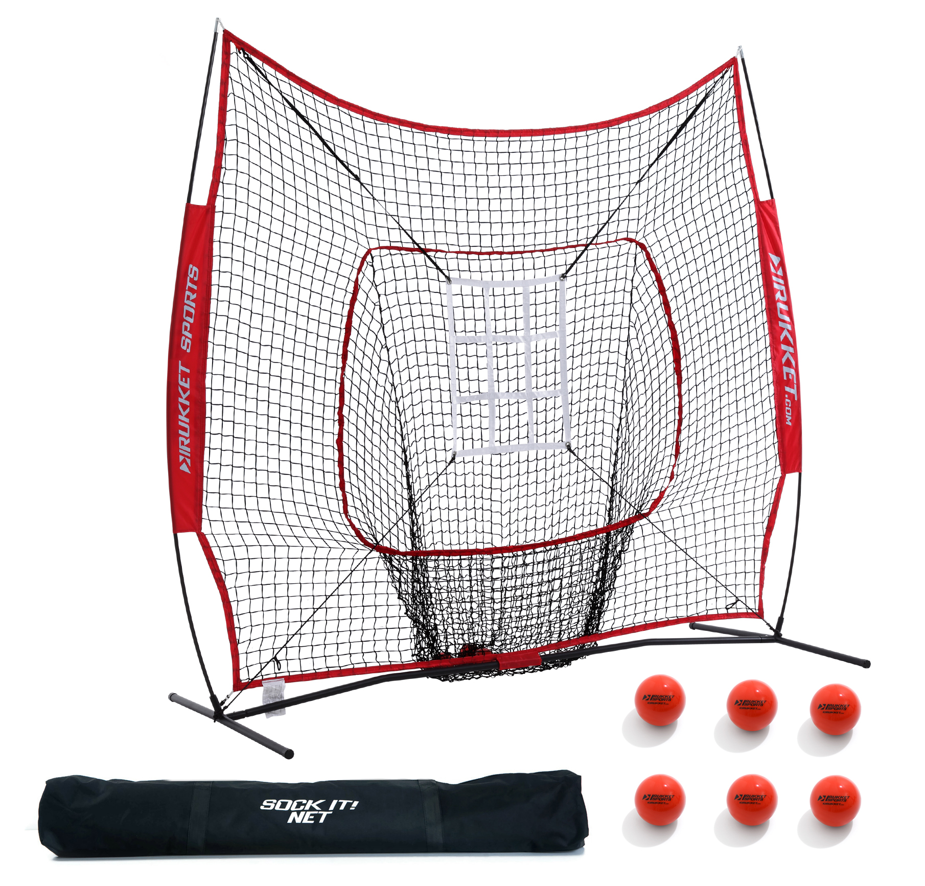 Rukket 7x7 Baseball & Softball Hitting, Pitching, Batting and Catching Net, With Carry Bag, Strike Zone Target, 6 Weighted Balls