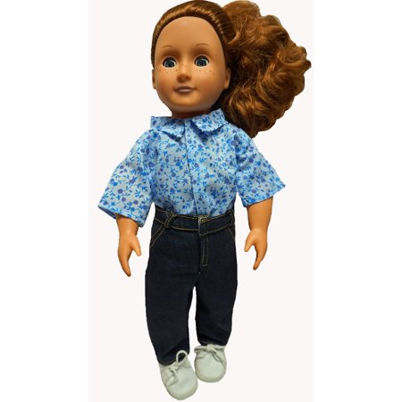 Jeans With Flower Shirt Fits 18 Inch Girl Dolls Like American - Flower Girl Tops