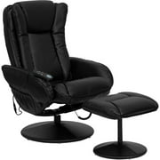 Flash Furniture Deluxe Massaging Leather Recliner and Ottoman, Black