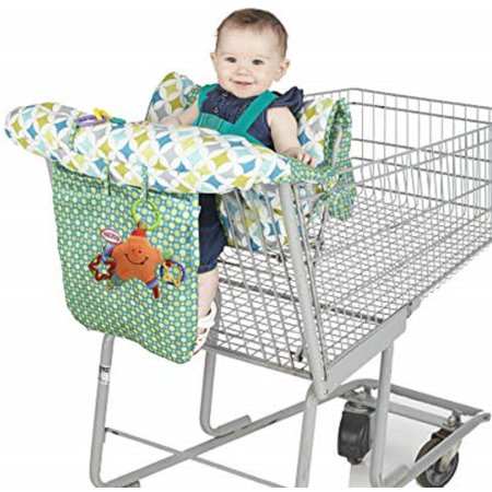 Nuby Shopping Cart and High Chair Cover Nuby Shopping Cart & High Chair Cover. This product is great for high chairs and helps keep child secure, comfortable & germ free. It installs in seconds and completely covers cart and high chair seat. It has essentials pocket and storage pouch. The product features pouch for essentials, rolls up into stylish bag, comfortable cushioning, soft fabric, loops to attach small toys, 5 point harness for added security and covers entire seat and sides of cart.
