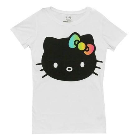 Hello Kitty Outline Face (Hello Kitty Face Rainbow Bow Mighty Fine Juniors Babydoll T-Shirt Tee )