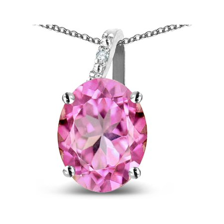 Star K 14k Gold Oval 9x7 Created Pink Sapphire Journey Pendant Necklace