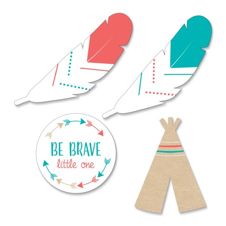 Be Brave Little One - DIY Shaped Boho Tribal Baby Shower or Birthday Party Cut-Outs - 24 Count