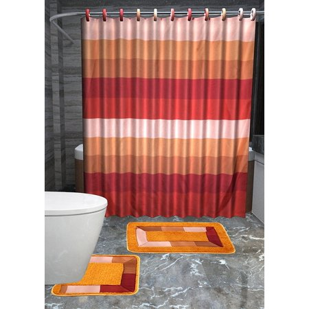 Multi Orange Rust 15pc Striped Bathroom Accessories Set Rugs Shower Curtain Matching Rings