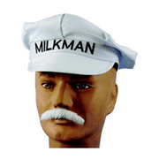 Milkman Hat Retro Adult White Dairy Delivery Cap Milk Man Vintage 50's Costume