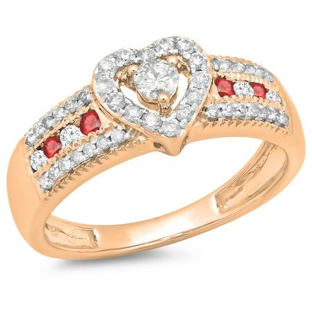 0.55 Carat (ctw) 10K Rose Gold Round Cut Ruby & White Diamond Ladies Bridal Heart Shaped Promise Engagement Ring 1/2 CT