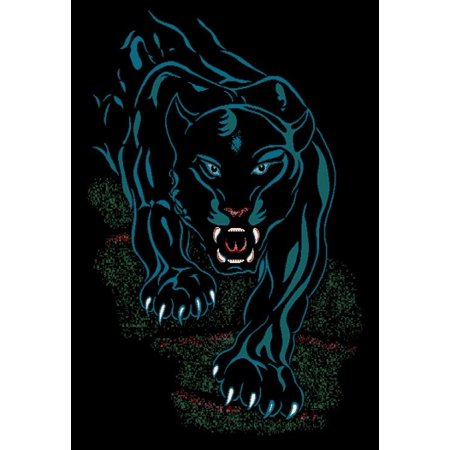Black Panther Tribal Tattoo Jaguar Area Rug Modern African Animal Carpet