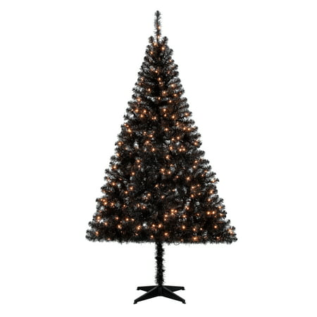 Holiday Time Pre-Lit 6.5' Madison Pine Black Artificial Christmas Tree, Clear-Lights ()