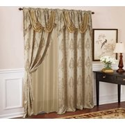 "Rosetta Damask Textured Jacquard 54 x 84 in. Curtain Panel w/ Attached 18"" Valance in Taupe"