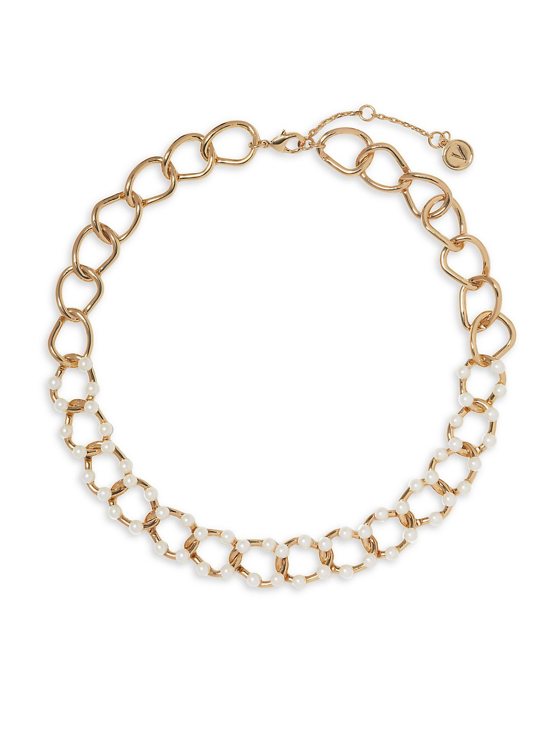 Goldtone and Faux Pearl Link Necklace