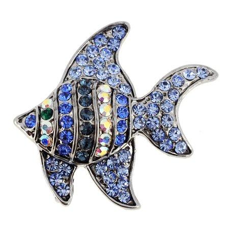 Blue Angel Fish Swarovski Crystal Pin (Swarovski Crystal Angel Pin)