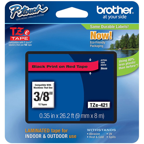 """Brother TZe421 3/8"""" Tape, Black on Red"""