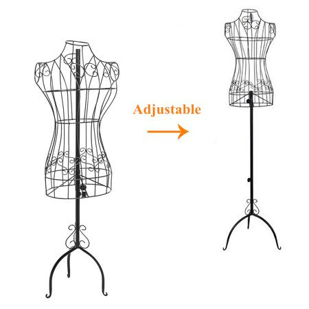 Vintage Designers Black  Metal Adjustable Heigh Mannequin Wire Frame Dress Form Display Stand