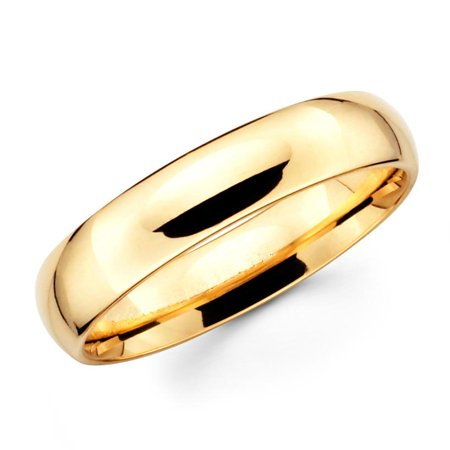 14K Solid Real Yellow Gold Classic Plain Polished Regular Fit Wedding Band Ring for Men & Women 5mm
