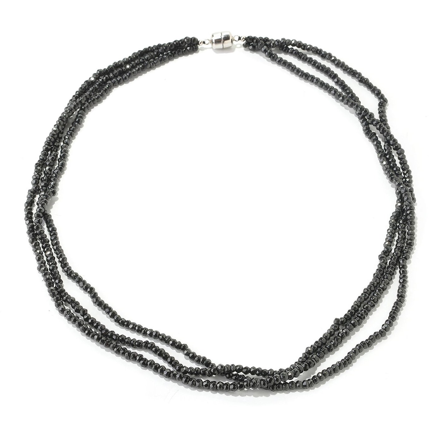 V3 Jewelry Sterling Silver Black Spinel 3-Strand Bead Necklace (18 or 24 inches)